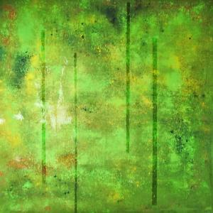 Space in green, mixed technique, 100 x 100 cm