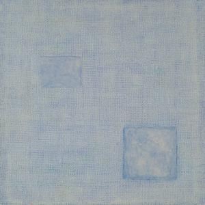 Structure with two squares on blue background, Mischtechnik, 80 x 80 cm, 2014